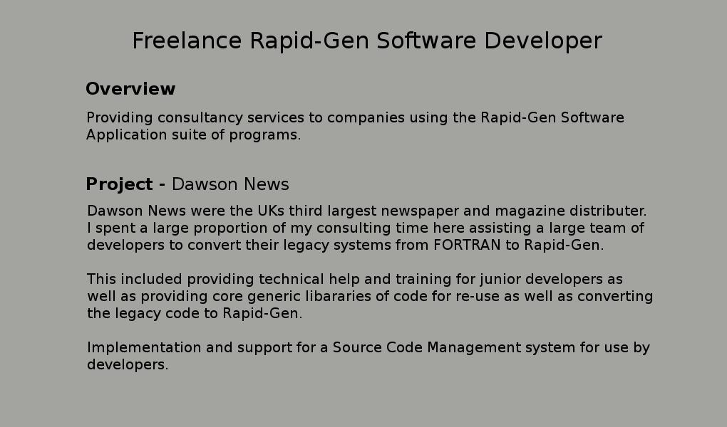 Freelance Rapid-Gen Software Developer