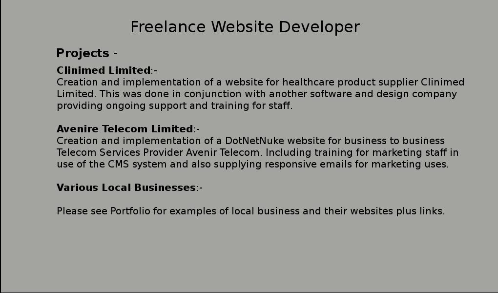 Freelance Website Developer cont...